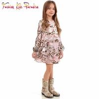 2015 Brand Baby Girls Dress Silk Chiffon Children Princess Dress Leopard Print Girl Dress Casual Winter Party Kids Dresses