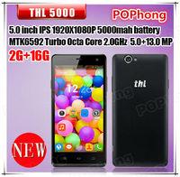 Original THL 5000 MTK6592 Octa Core Androd Phone 5.0 INCH IPS 1920*1080 2G RAM 16G ROM 13.0MP WCDMA GPS 5000MAH Battery