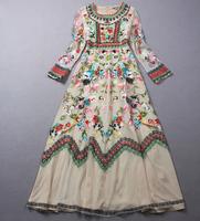 HIGH Quality New Fashion 2014 Runway Maxi Dress Women's Noble Long Sleeve Stunning Gauze Embroidery Long Dress Full Dress
