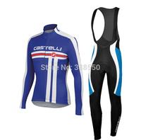 2014 New  Winter Fleece cycling jersey/ cycling clothing women men Long Sleeve+Bib Trousers Bike Clothes full zipper -BF0831