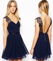 2014 New Summer Sexy Women Chiffon Lace Patchwork Backless Tank Deep V-Neck Tunic Waist Pleated Mini Dress, Blue, S, M, L, XL