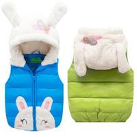 Children vest 2014 winter thickening duck down coat fashion girls cartoon hooded vest kids warm waistcoats parkas outerwear