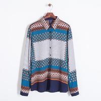 2014 women vintage fashion cotton geometric scarf shirt turn down collar long sleeve brand leisure blouse 310223