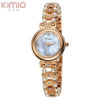 New Original KIMIO Luxury Korea Ladies Watch Golden Steel with Pearl Band Women Dress Watch with Rhinestone