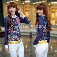 Vintage Summer-Autumn Blouse For Women Korean Fashion Long Sleeve Sheer Tops Casual Work Shirt Chiffon Blouse SV002972