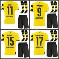 14-15 Top thailand quality Borussia Dortmund Home REUS HUMMELS Lewandowski Gotze Soccer jersey with short and the match sock