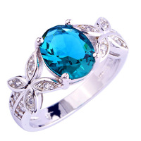 Novelty Stunning Butterfly Oval Reduce Eco-friendly Topaz 925 Silver Ring Measurement 7 eight 9 10 New Vogue Girls Rings Free Transport Wholesale