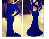 Sexy Long Sleeve Prom Mermaid Dress Open Back Party Evening Elegant 2014 Long Evening Gowns Vestidos De Fiesta Vestido Longo