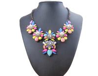 2014 New Arrival Brand Designer Flower Choker Women Necklaces & Pendants Fashion Rainbow Statement Pearl Necklace Cute Luxury