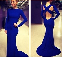 New 2014 Autumn Long Sleeve Hollow Out Backless Sexy Bandage Dresses Floor length Elegant Vestidos Maxi party Dress clothing
