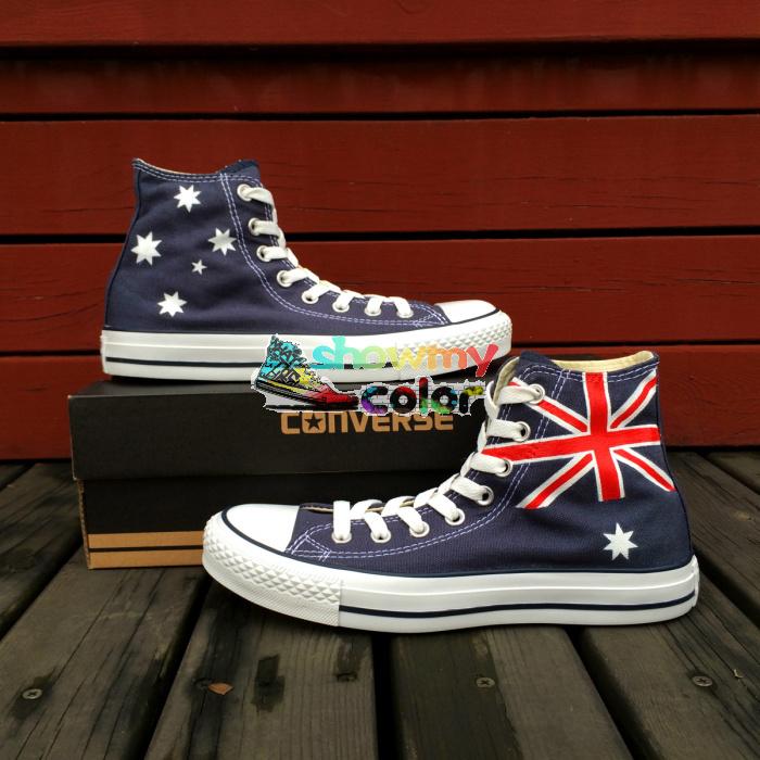 australian flag converse shoes blue sneaker painted