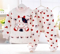 Free Shipping 2015 New thicken Cotton-padded clothes Baby Boy Girl Sleepwear Toddler Long Sleeve Pajama Children clothing sets
