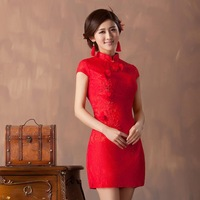 Chinese red cheongsam women short paragraph Knee-length wedding dress embroidered retro Upscale lace flower party marry dresses