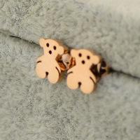 New Mini Winnie earrings titanium steel earrings 14 k rose gold Teddy bear earrings