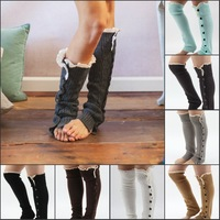 Women girls Lace Leg warmers Button Down little with Lace Boot socks 7color effective Free shipping 10pcs/lot