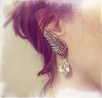 Wholesale Amazon ebay HOT new vintage angle wings Clip Earrings Crystal Wter  Earrings for women free shipping