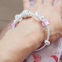 Free Shipping DHL Wholesale Lot 100Pcs silver bracelet jewelry aliexpress new 2014 pink crystal love lovely