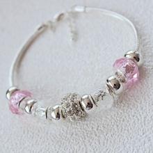 Min 10 Free Shipping DHL Wholesale Lot 100Pcs silver bracelet jewelry aliexpress new 2015 pink