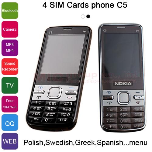 Polish Swedish Spanish Greek Arabic German Russian Keyboard Analog TV DV FM Camera MP3 4 Sim Cards 4 Standby Phone C5 P471(China (Mainland))