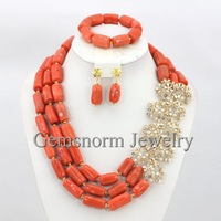 Marvelous Pink Coral Beads Jewelry Set African Beads Necklace Set Fashion Costume Wedding Jewelry Set Free Shipping CNR223