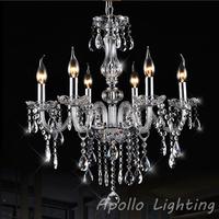 6 Bulbs Modern European LED Candle Crystal Chandelier Light Lighting Lamp Modern Fixture E14 Dining Room Living Room