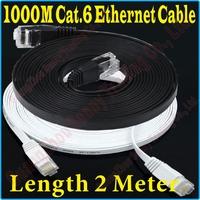 New 6FT 2M CAT6 CAT 6 Flat UTP Ethernet Network Cable RJ45 Patch LAN Cord 1000M Gigabit ethernet cable super flat, PROM5