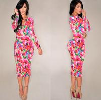 2014 New Long Sleeve Autumn Dress Celebrity Bodycon Bandage Dress Midi Pencil Dress Floral Print Slim Casual Dress DZ007-