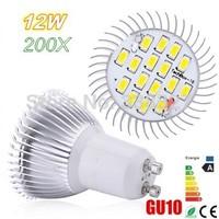 200pcs Free Shipping  High Power SMD5730 16 LED LAMP  GU10/ MR16 / E27 / E14 / B22  AC85-265V 12W Energy-Saving  Led Light Bulbs