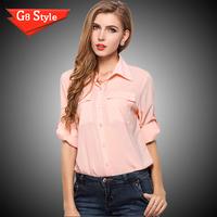 2015 new women's autumn lapel chiffon shirt big yards temperament shirt pocket chiffon shirt shirt