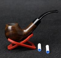 10 Tools Set Ebony Wood Smoking Pipe 9mm Filter 14cm Smoking Pipe Brown Color Bent Smoking Pipe Set