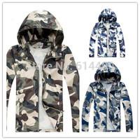 Men Windbreak Camouflage Jackets Spring Fall Outwears Casual Sportswear Hooded Long Sleeved Military Jackets Free Shipping