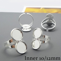 20X Silver Plated Ring Setting Base Jewelry Finding with Inner 10-12mm Tray for Glass Cabochons/Domes