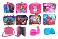 Retail Children/kids/girls/boys cartoons Elsa Anna sofia Turtles lunch bag/Messenger Bag Lunchbox Picnic Lunch Box/water bottle