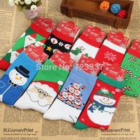 5pairs/lot high quality color cotton Christmas socks Cute moose snowflakes Santa Claus socks christmas gift socks Free Shipping