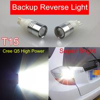 2pcs Super White High Power T15 921 912 W5W T10 Cree Q5 Led 5W 12V Led Car Lights Backup LED Reverse Lamp Projector Lens Bulbs
