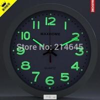 M42 modern design 12inch LUMINOVA living room novelty clocks with coffee/white/black/silver frame colors wall clock decorative