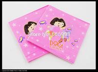 Food-grade Dora The Explorer Paper Napkin Festive & Party Tissue Napkin Supply Party Decoration Paper 33cm*33cm 1pack/lot