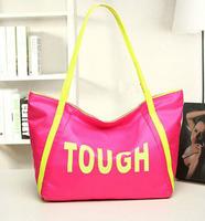 Promotion nylon school handbag candy block women leather handbags  sport messenger shoulder letter print shopping bags 2014