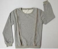 Mens Front Back Zipper Long Sleeve Sweatshirtt/ Bieber Zipper Sweater Men/ Crewneck Pullover zipper Around Sweatshirt Gray Black