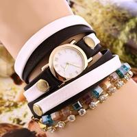 New 2014 Fashion Colourful Lady long Leather crystal chain Wristwatch Women Hawaii Dress Watches Quartz Watch Clcok bracelet