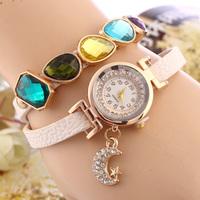 New 2014 Fashion Colourful crystal gem bracelet Wristwatch ,Women Dress Watches moon pendant Long Leather quartz watch
