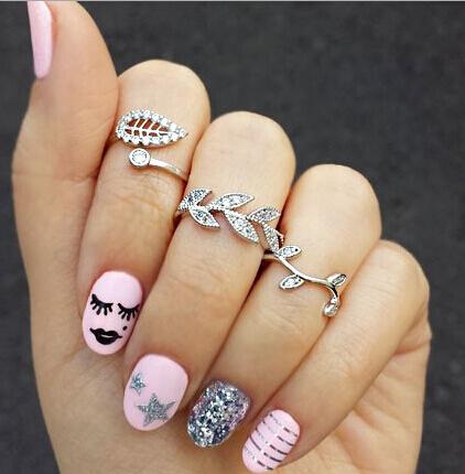 New Fashion Jewelry Finger Ring Set Leaf Shaped Imitation Diamond Gift for Women ladies 3pcs lot