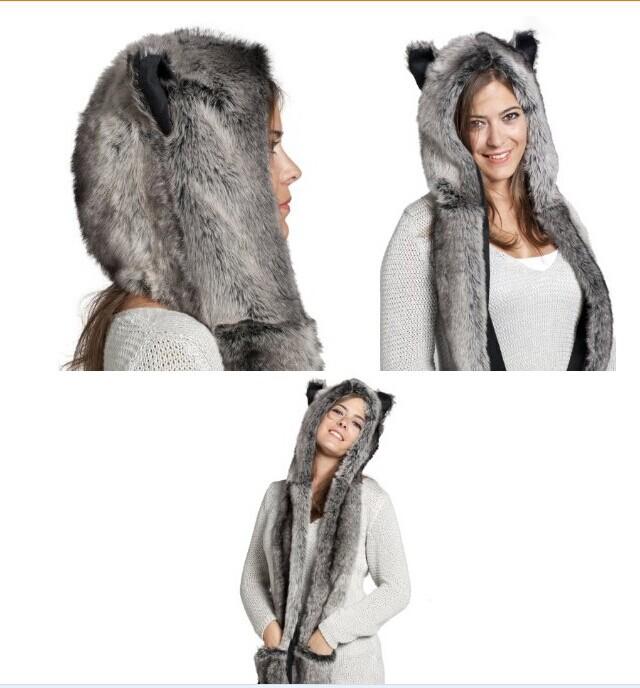 5 Design Faux Fur Winter Hat Animal Wolf Hood Scarf Gloves Ladies Girls Mens Xmas Spirit Free Shipping(China (Mainland))