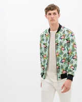 New Arrival 2014 Brand Design Trendy  Plant & Flamingo Print Men Jacket Track Jackets