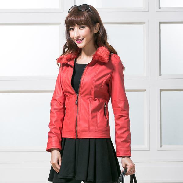 Fur Collar Women Short Leather Jacket 8 Colors Size S-XL 2014 New Maturity Style Luxury Lady Good Quality Fashion Slim Coats(China (Mainland))