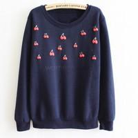 2014 Autumn&Winter Pullover Coat Sweatshirts Tops Sport Suit  Women Hoodies Sweatshirts Outerwear Cherry Print SV19 CB028690