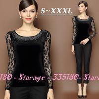 S-XXXL Brand Diamond Hollow Lace Long Sleeve Velvet T-shirts Women Tops Ladies Tees Shirt Autumn Winter Plus Size Clothing 8200