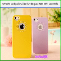 Free shipping  New cute candy colored lace love to spend hard-shell phone sets for iPhone5/5S (10pcs)