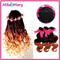 3 bundles Free Shipping Brazilian Ombre Human Virgin Hair 3 tone T#1B/4/27 Unprocessed Body Wave Brazilian ombre Hair Extensions