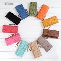 New 2014 genuine leather long wallet high quality wallets women female Ostrich purse brand women's purses women clutch ladies